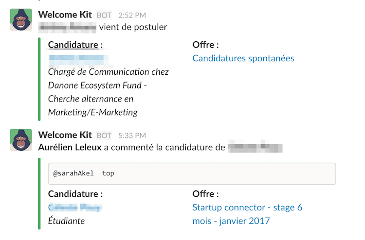 Slack avec le bot de Welcome to the Jungle.